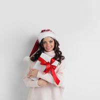 Woman hug Christmas gift