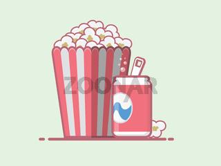 Popcorn and coke vector icon.
