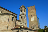 Spire of the San Giovanni Battista Church and watch tower, Barbaresco, Piedmont,Italy