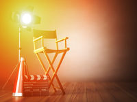 Video, movie, cinema concept.  Clapperboard and director chair. Film industry