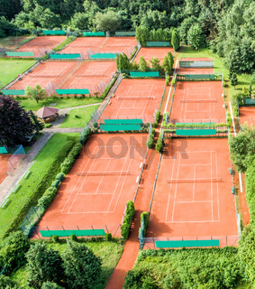 Tennis courts photographed from the air with drone