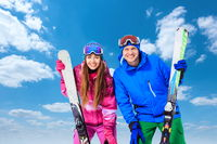 Happy couple in winter