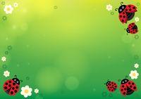 Spring background with ladybugs 1