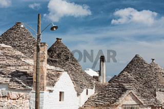 Typical rooftops of Alberobello houses, Puglia, Italy