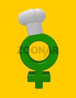 symbol für weiblich mit kochmütze - 3d illustration