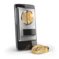 BItcoin coin and mobile phone  isolated on white. Pay by bitcoin concept.