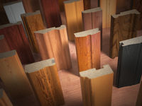 Samples of wooden furniture MDF profiles, Different medium density fiberboards.