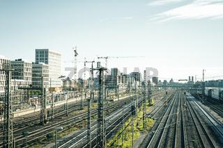 München: Blick von der Donnersberger Brücke Richtung Hauptbahnhof