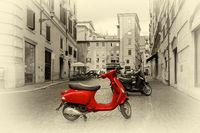 Motorbike on roman street