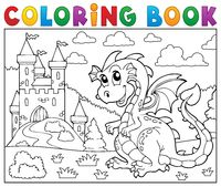 Coloring book dragon near castle theme 2