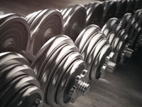 Rows of dumbbells  in the gym.