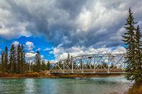 Road bridge over the picturesque river