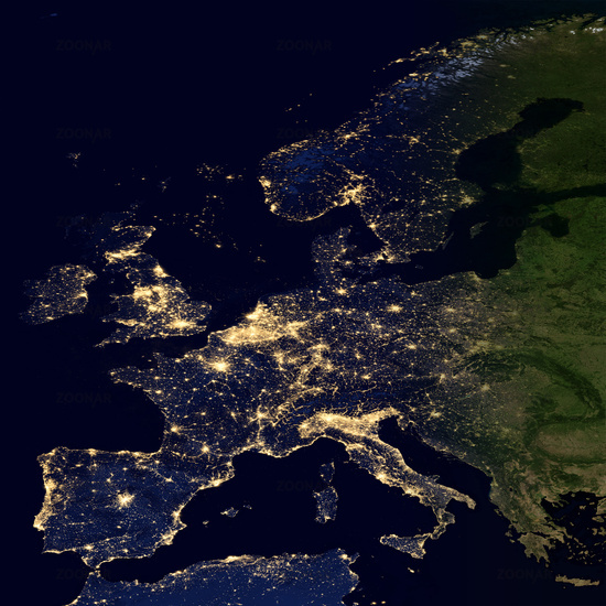 City lights on world map. Europe.