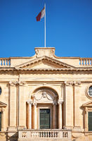 A facade of the National Library of Malta, Valletta