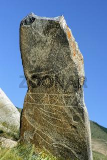 Hirschstein genannte Steinstele, Grabstein aus der späten Bronzezeit, Mongolia