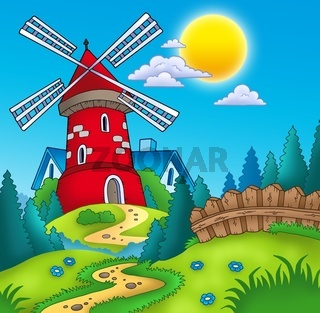 Country landscape with red mill - color illustration.