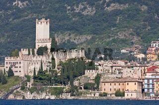 castle of malcesine at garda lake in italy