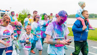 Poznan, Poland - May 20, 2017: Happy people participating in the Color Run. The Color Run is a worldwide hosted 5K fun race