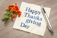 Happy Thanksgiving Day on napkin