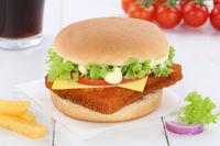 Fischburger Fisch Burger Backfisch Hamburger Menu Menü Menue Getränk