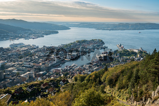 Panorama of Bergen from Floyen mountain