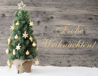 Golden Decorated Tree, Frohe Weihnachten Means Merry Christmas