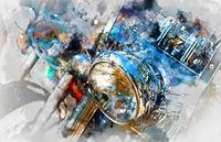 Motorcycle headlight. Digital watercolor painting