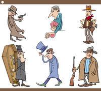 wild west people cartoon set