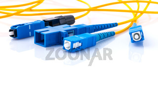 Fiber Optics connectors symbolic photo for fast internet connection ,Internet Service Provider equipment.broadband connection is  available everywhere.