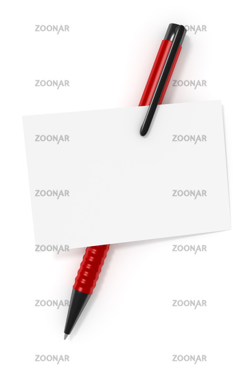a blank business card and a red ball pen
