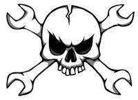 lustiger cartoon totenkopf mit gekreuzten schraubenschlüsseln - illustration