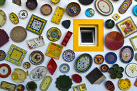 Portuguese ceramics at the wall of the pottery shop Artesanato A Mo, Sagres, Algarve, Portugal
