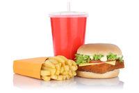 Fischburger Fisch Burger Backfisch Hamburger Menü mit Pommes Frites Getränk Fast Food Freisteller freigestellt