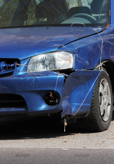 blue damaged car, cutting front edge, 2