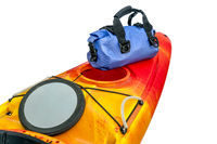 kayak deck with open hatch and dry bag