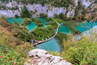 High view of Plitvice lakes