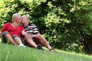 Senioren beim Nordic-Walken - Senior citizens at the Nordic walk