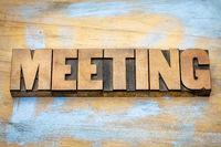 meeting word in letterpress wood type