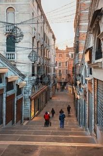 Stairways famous Rialto Bridge in Venice