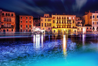 Grand canal at Venice by night with lights.