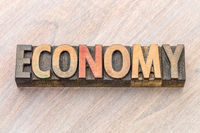 economy word abstract in wood type