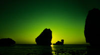 Camel Rock in Nui Bay at Phi Phi Don during sunset