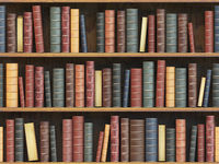Vintage books on bookshelf. Old books tiled seamless texture background (vertically and horizontally).
