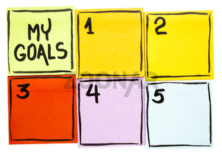 My goals - sticky note concept
