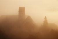 Church in morning Fog