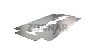 Razor blade angle vew 3d illustration