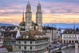 Zurich city center with snow covered Alps mountains in background, Switzerland