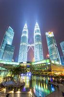 modern buildings in modern city at night
