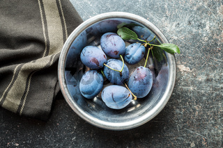 Fresh blue plums.