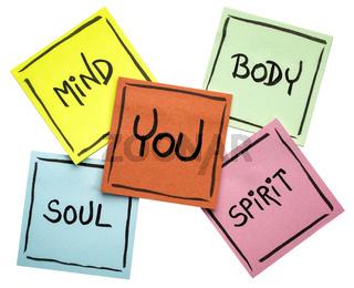 you, body, mind, soul, and spirit - sticky note set